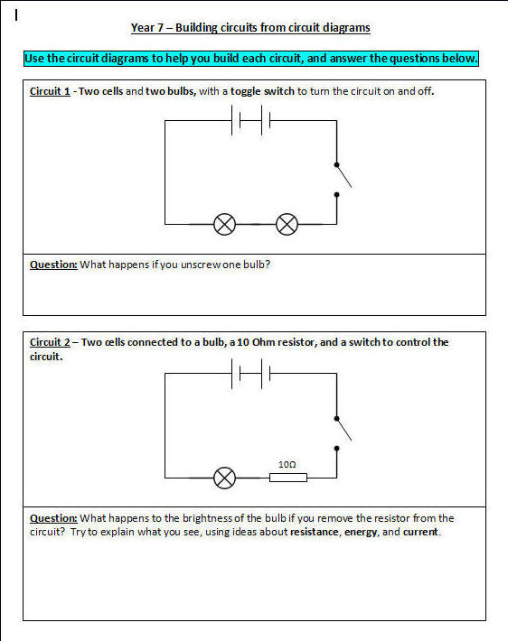 Building Circuits – Circuit Diagram Worksheet
