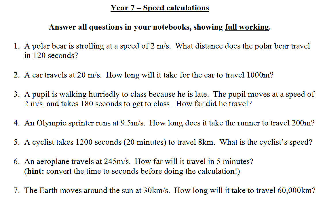 Calculating Speed – Speed Problem Worksheet